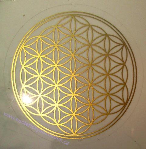 Květ života - samolepka 4,5 cm zlatá - vhodná na karafa či sklenku 4 + 1 ZDARMA