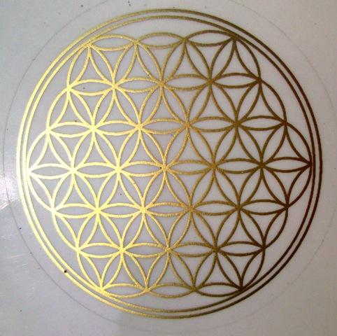 Květ života - samolepka 15 cm - zlatá 3 + 1 zdarma