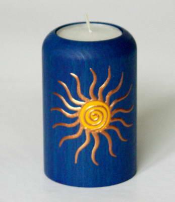 Svícen spirálové slunce / střední tmavě modrý - 9 cm