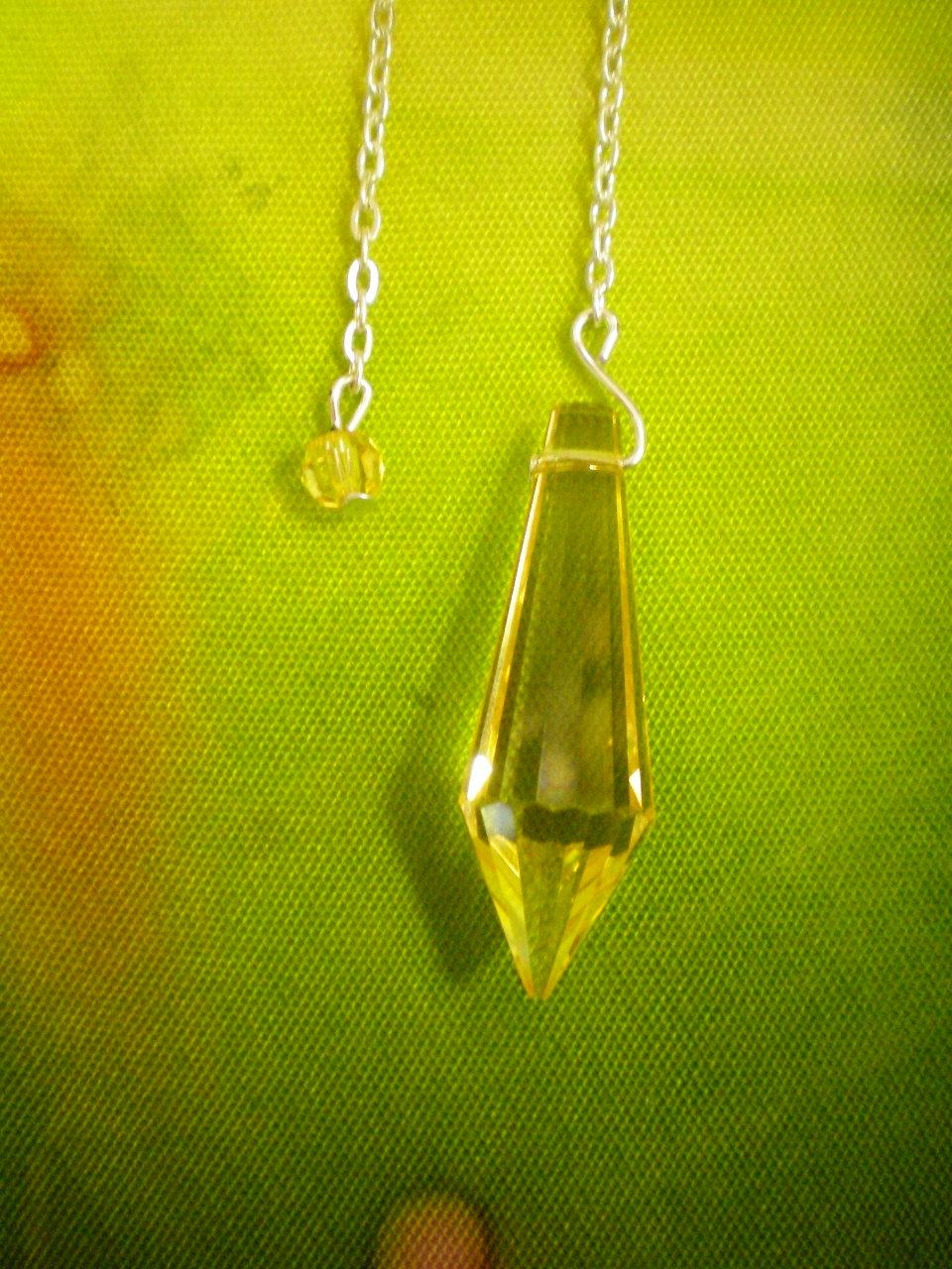Siderické kyvadlo - 3 Briliant - žluté křšťálové sklo