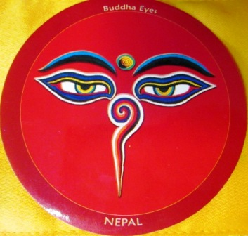 Samolepka - Milující oči - symbol soucitu (červené provedení)