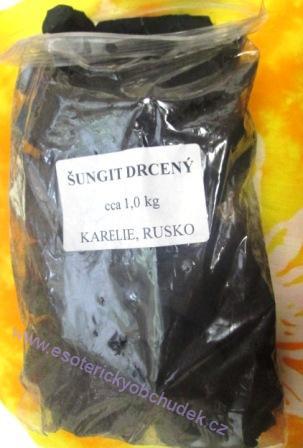 Šungit - drť do vody 1 kg (vel. valounků 3 - 4 cm)