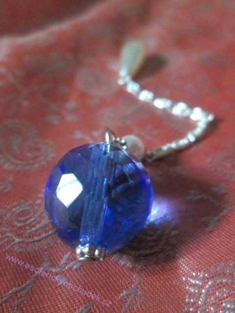 SRT kyvadlo - z broušeného skla - tmavě modré - střední