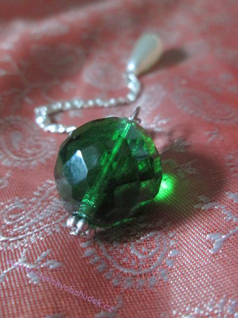 SRT kyvadlo - z broušeného skla - zelené - střední