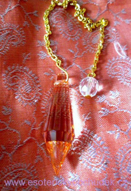Kyvadlo - křišťálové sklo - Briliant 1 - červené - zlatý kov