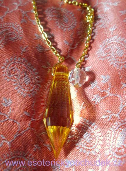 Kyvadlo - křišťálové sklo - Briliant 2 - oranžové - zlatý kov