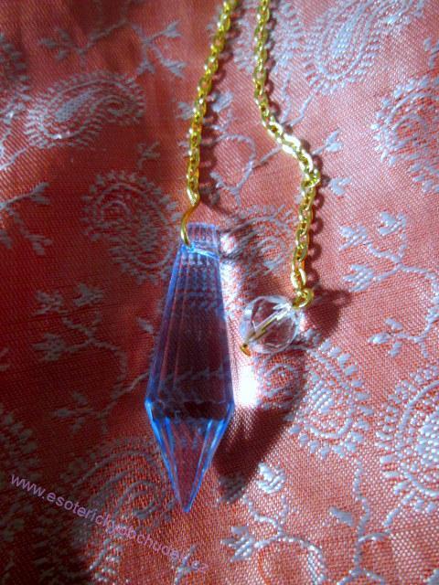 Kyvadlo - křišťálové sklo - Briliant 6 - tm.modré - zlatý kov
