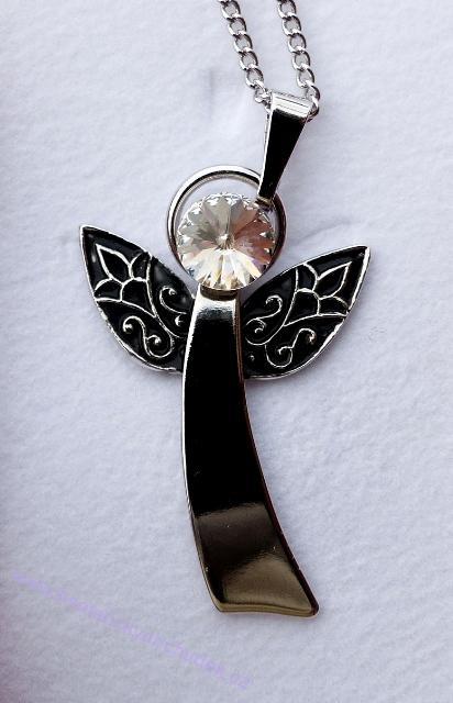 Anděl Strážný/ochranný anděl - přívěsek s bílým krystalem Swarovski