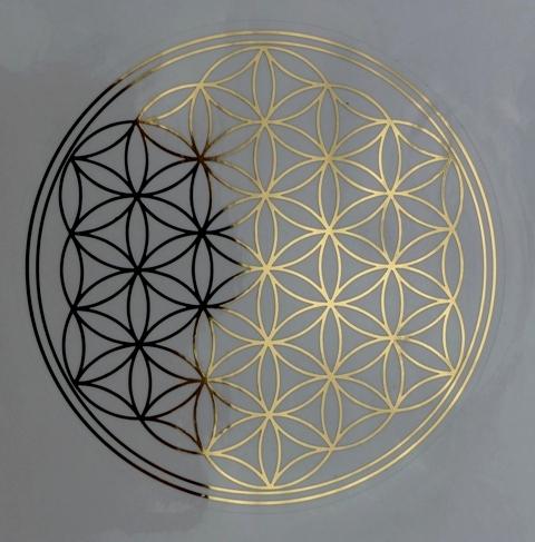 Květ života - samolepka 15 cm - zlatá
