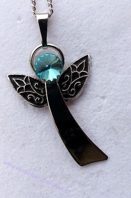Anděl Strážný/ochranný anděl - přívěsek s tyrkysovým krystalem Swarovski