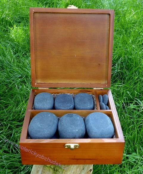 Lávové masážní kameny, sada 23 ks v dřevěné krabici