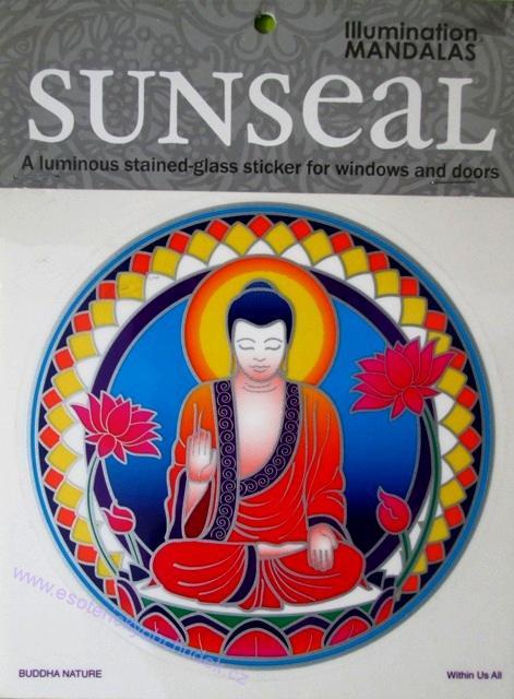 Mandala na okno samolepící průhledná - Buddha