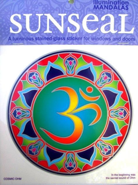 Mandala na okno samolepící průhledná - Kosmické Óm