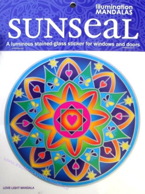 Mandala na okno samolepící průhledná - Mandala světla lásky